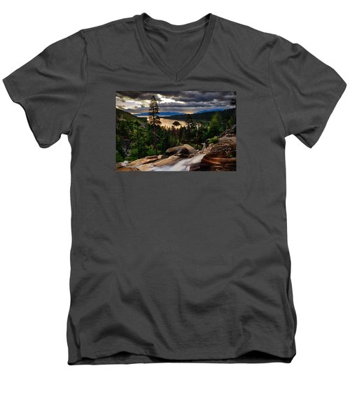 Standing At Eagle Falls Men's V-Neck T-Shirt