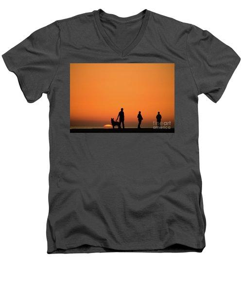 Standing At Sunset Men's V-Neck T-Shirt