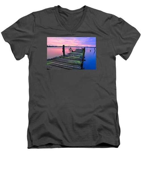 Standing On A Wooden Bridge Men's V-Neck T-Shirt
