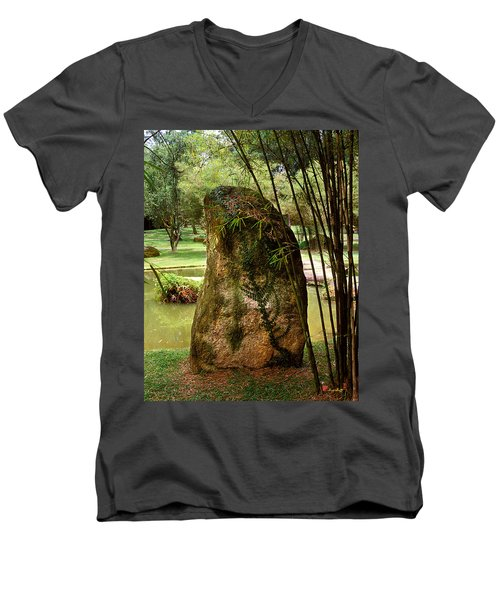 Standing Stone With Fern And Bamboo 19a Men's V-Neck T-Shirt