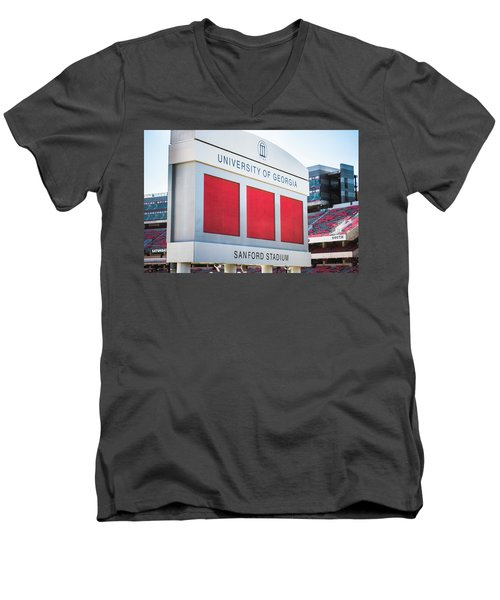 Men's V-Neck T-Shirt featuring the photograph Standing Tall Over Sanford Stadium  by Parker Cunningham