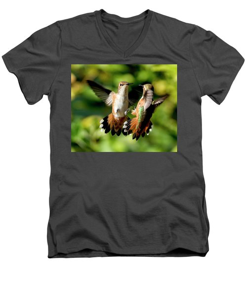 Standoff Men's V-Neck T-Shirt by Sheldon Bilsker