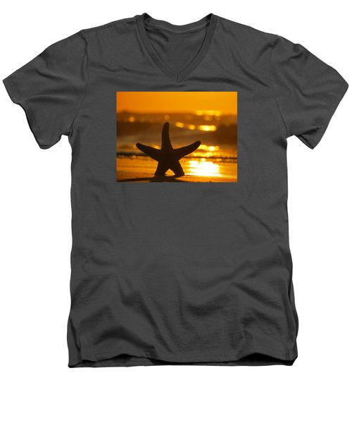 Men's V-Neck T-Shirt featuring the photograph Star Bokeh by Nikki McInnes