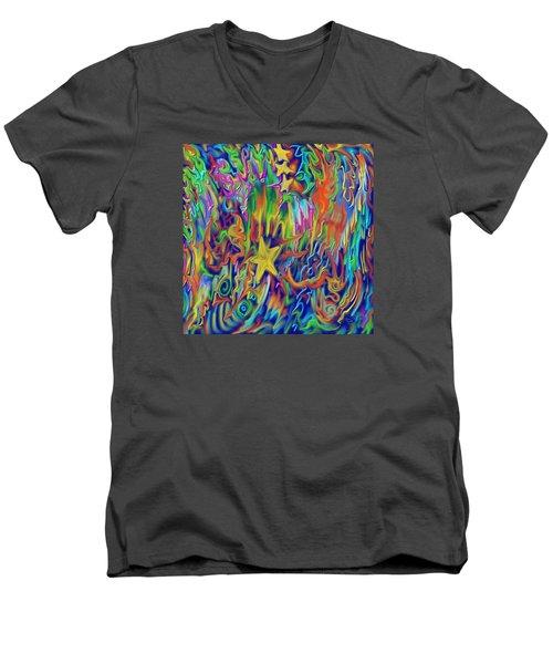 Star E Nite Men's V-Neck T-Shirt by Kevin Caudill