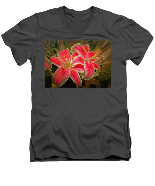 Star Gazer Lilies Men's V-Neck T-Shirt