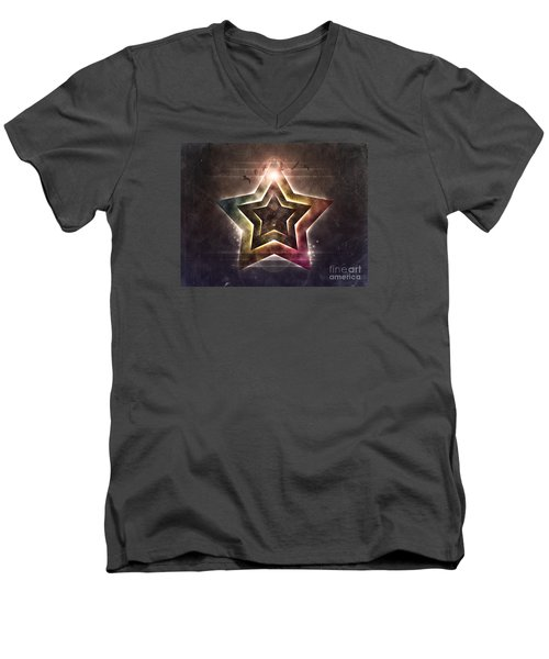 Men's V-Neck T-Shirt featuring the digital art Star Lights by Phil Perkins