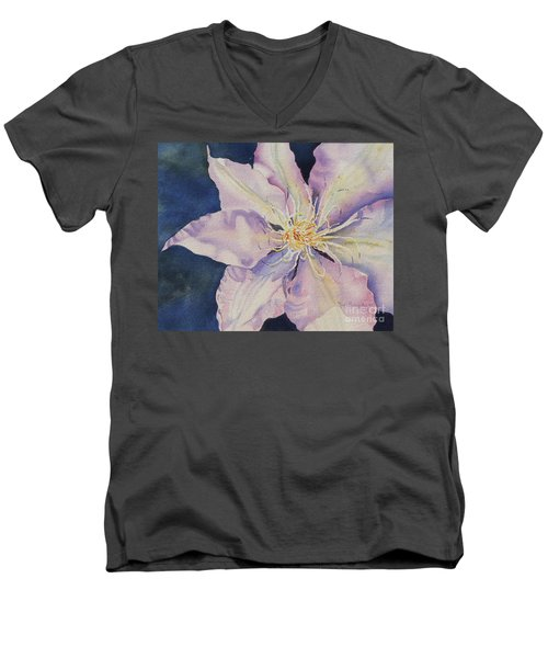 Men's V-Neck T-Shirt featuring the painting Star Shine by Mary Haley-Rocks