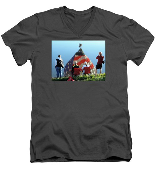 Men's V-Neck T-Shirt featuring the painting Star Spangled Morning by Tom Riggs