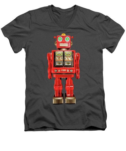 Star Strider Robot Red On Black Men's V-Neck T-Shirt by YoPedro