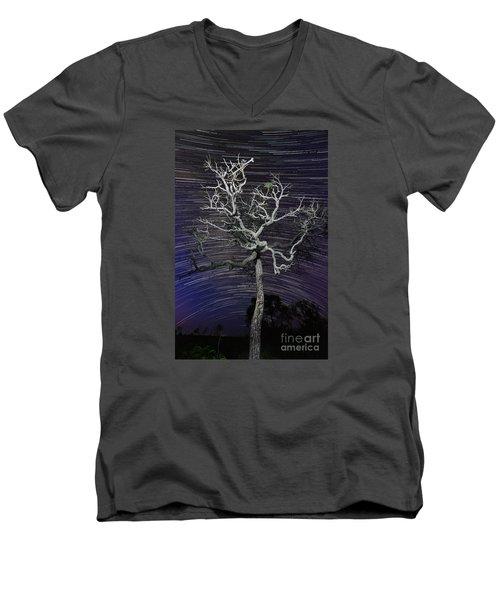Star Trails In The Cerrado Men's V-Neck T-Shirt by Gabor Pozsgai