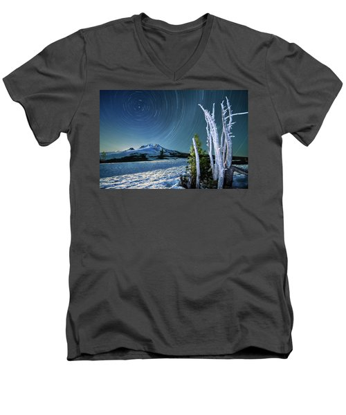 Men's V-Neck T-Shirt featuring the photograph Star Trails Over Mt. Hood by William Lee