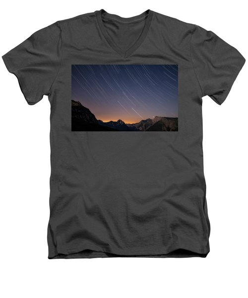 Star Trails Over The Apuan Alps Men's V-Neck T-Shirt