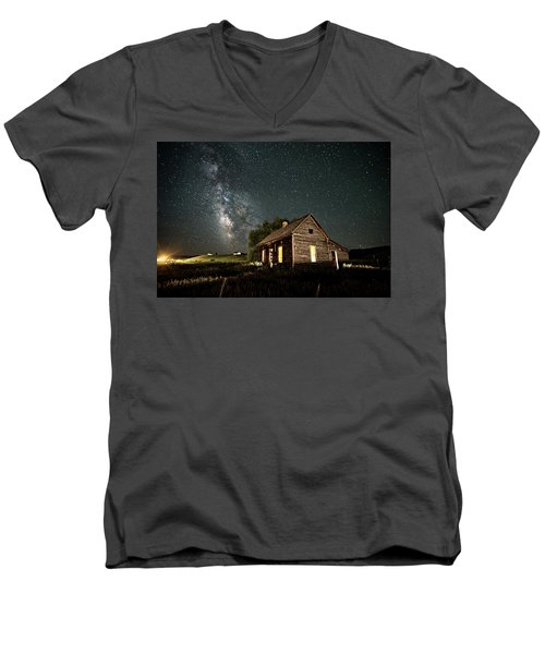 Men's V-Neck T-Shirt featuring the photograph Star Valley Cabin by Wesley Aston