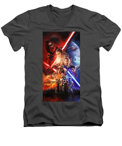Men's V-Neck T-Shirt featuring the painting Star Wars The Force Awakens Artwork by Sheraz A