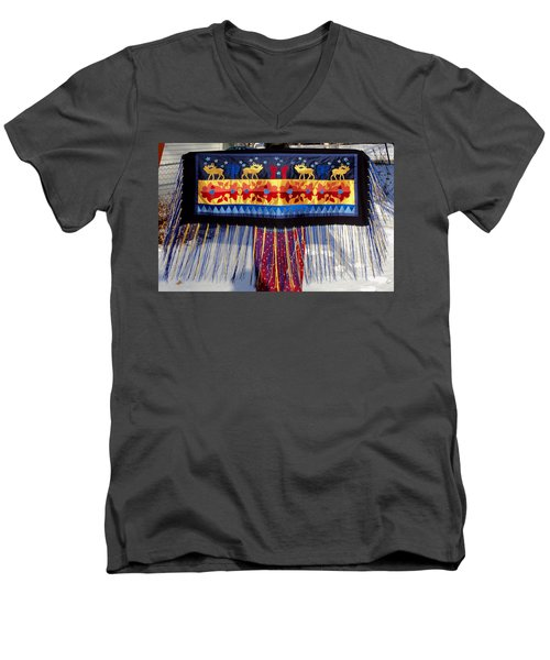 Men's V-Neck T-Shirt featuring the tapestry - textile Star Whistling by Chholing Taha