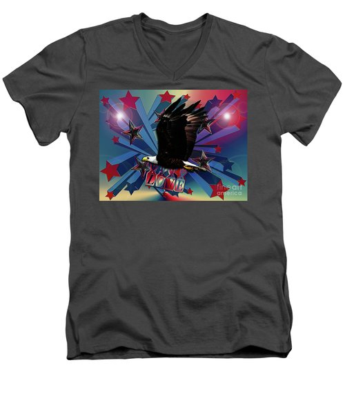 Men's V-Neck T-Shirt featuring the photograph Starburst Love Eagle by Rockin Docks Deluxephotos