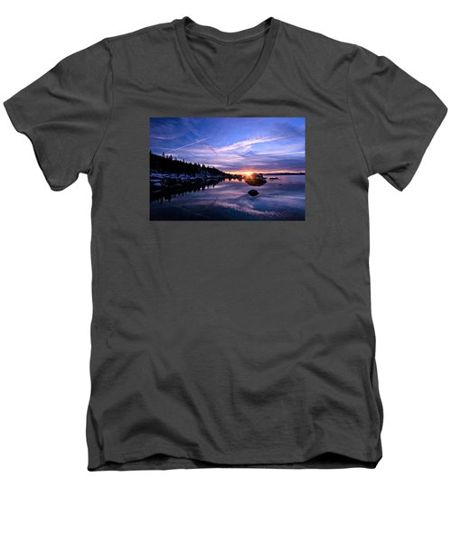 Starburst Men's V-Neck T-Shirt by Sean Sarsfield