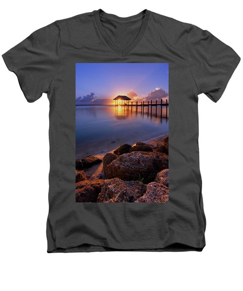 Starburst Sunset Over House Of Refuge Pier In Hutchinson Island At Jensen Beach, Fla Men's V-Neck T-Shirt by Justin Kelefas