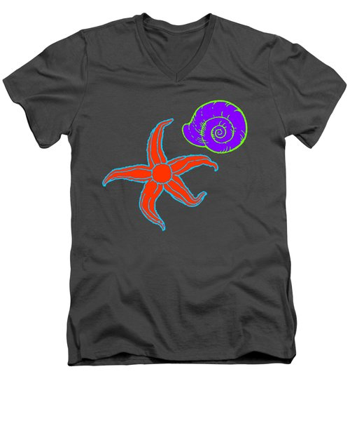 Men's V-Neck T-Shirt featuring the digital art Starfish And Shell by Jennifer Hotai