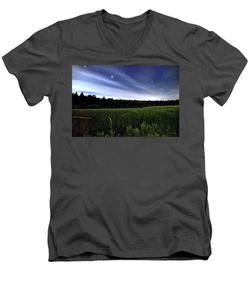 Starlight And Fireflies Men's V-Neck T-Shirt
