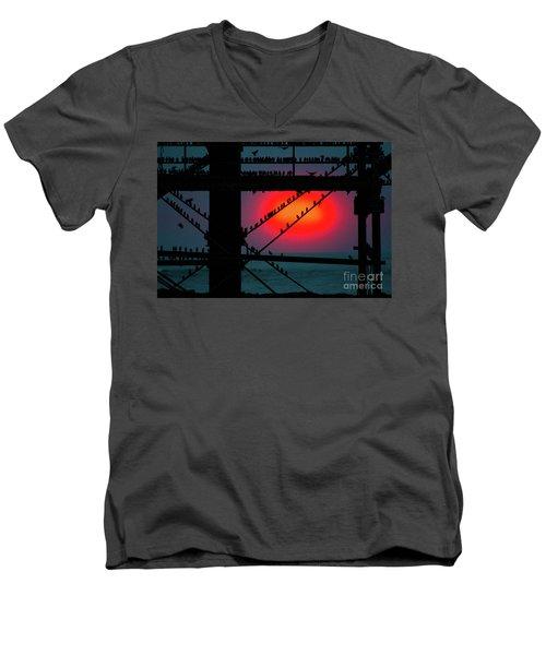 Starlings Against The Setting Sun Men's V-Neck T-Shirt