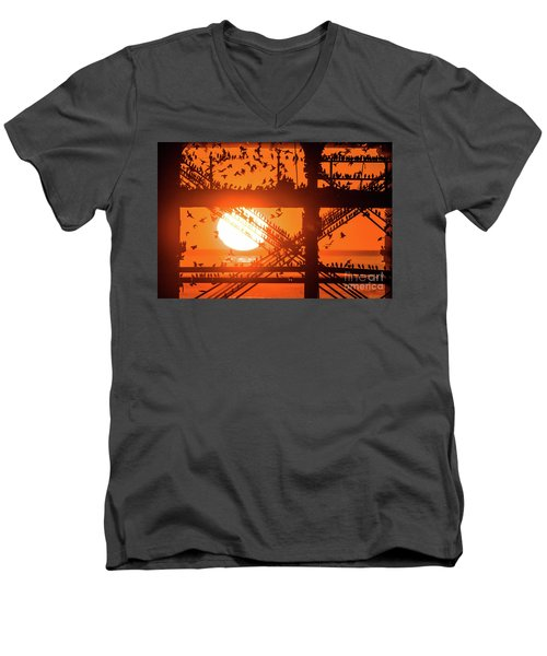 Starlings At Sunset Under Aberystwyth Pier Men's V-Neck T-Shirt
