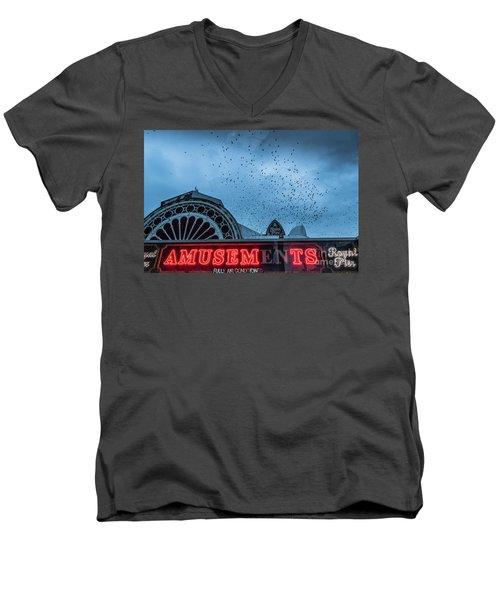 Starlings Over Aberystwyth Royal Pier Men's V-Neck T-Shirt
