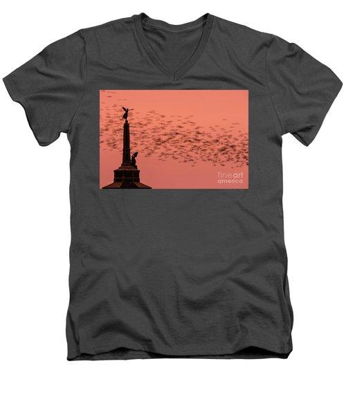 Starlings Sweeping Past Aberystwyth War Memorial Men's V-Neck T-Shirt