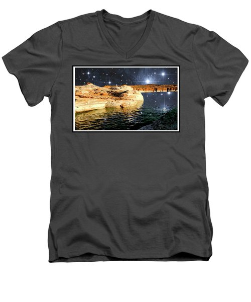 Starry Night Fantasy, Lake Powell, Arizona Men's V-Neck T-Shirt by A Gurmankin NASA STSci