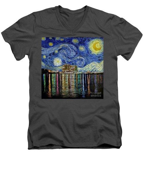 Starry Night In Destin Men's V-Neck T-Shirt by Walt Foegelle