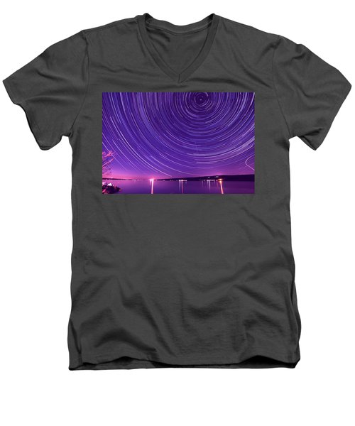 Starry Night Of Cayuga Lake Men's V-Neck T-Shirt