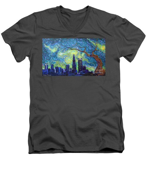 Starry Night Over The Queen City Men's V-Neck T-Shirt