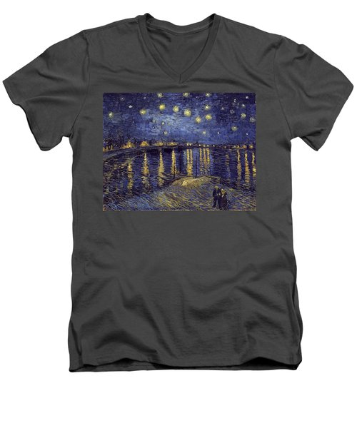 Men's V-Neck T-Shirt featuring the painting Starry Night Over The Rhone by Van Gogh