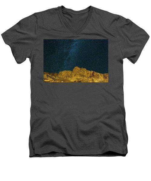 Starry Night Sky Over Rocky Landscape Men's V-Neck T-Shirt