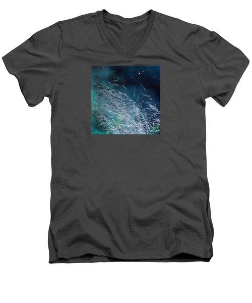 Men's V-Neck T-Shirt featuring the photograph Starry Sky Grass by Yulia Kazansky