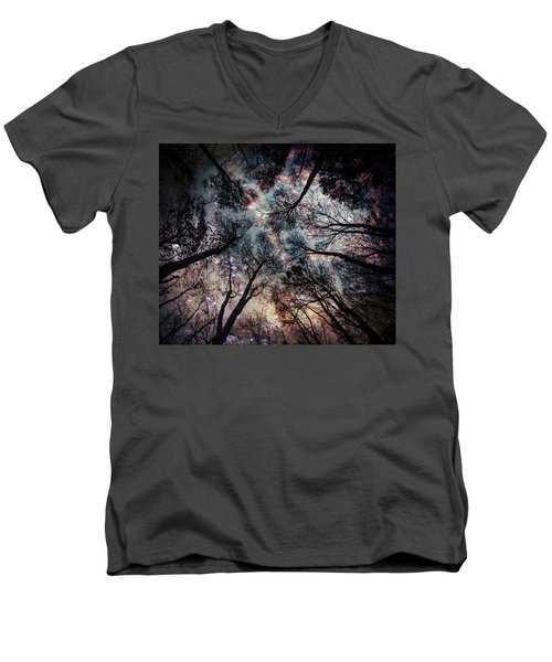 Starry Sky In The Forest Men's V-Neck T-Shirt