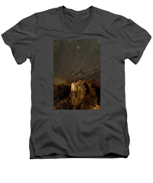 Stars And Crosses Men's V-Neck T-Shirt by Allen Biedrzycki