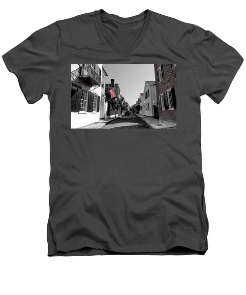 Men's V-Neck T-Shirt featuring the photograph Stars And Stripes- Church St Charleston Sc by Donnie Whitaker