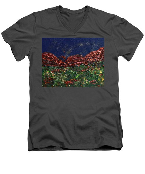 Stars Falling On Copper Moon Men's V-Neck T-Shirt by Donna Blackhall