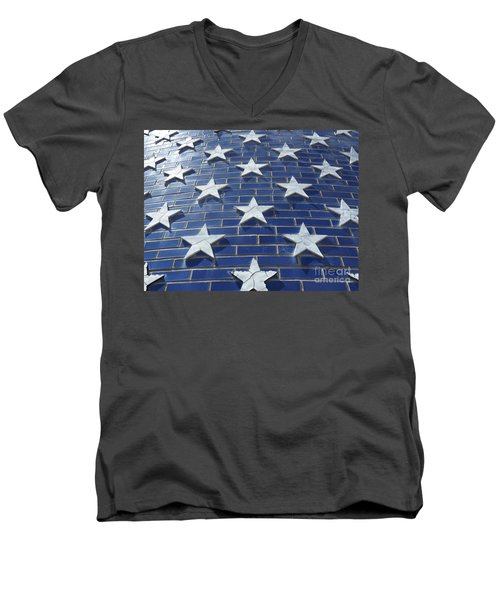 Stars On Blue Brick Men's V-Neck T-Shirt