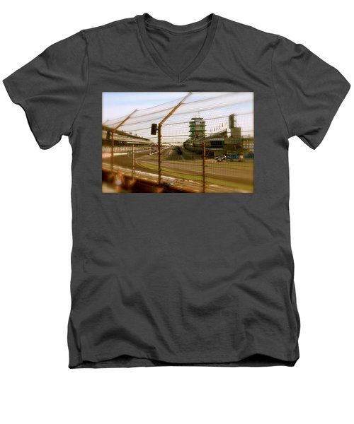 Start Finish Indianapolis Motor Speedway Men's V-Neck T-Shirt by Iconic Images Art Gallery David Pucciarelli