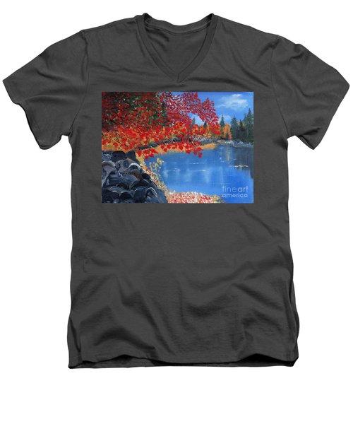 Start Of Fall Men's V-Neck T-Shirt by Rod Jellison