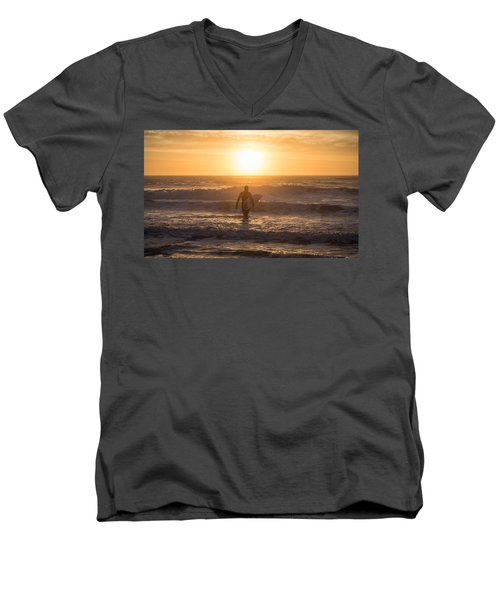 Men's V-Neck T-Shirt featuring the photograph Start The Day Surfing by Kristopher Schoenleber