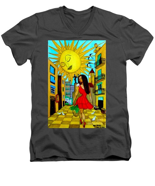Men's V-Neck T-Shirt featuring the painting Starting A New Day by Don Pedro De Gracia