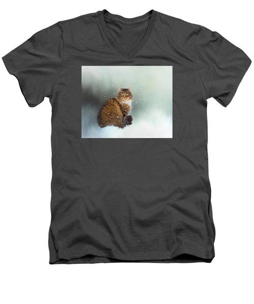 Starting To Snow Again Men's V-Neck T-Shirt by Theresa Tahara