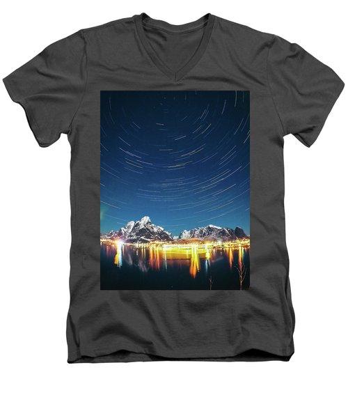 Startrails Above Reine Men's V-Neck T-Shirt by Alex Conu