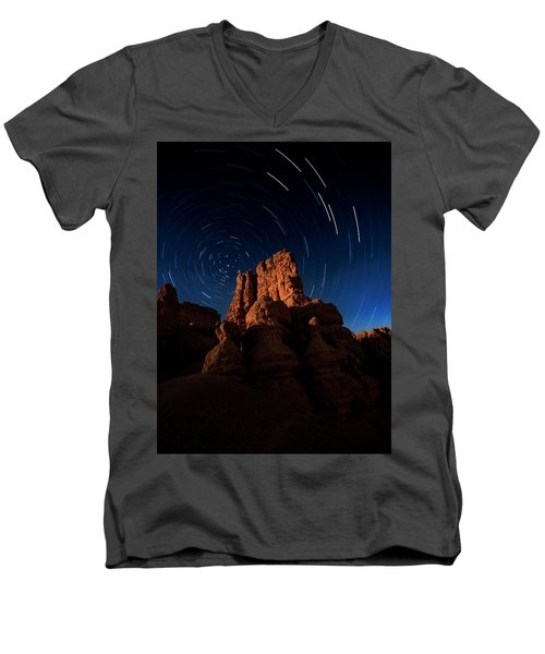 Men's V-Neck T-Shirt featuring the photograph Stary Trails At Red Canyon by Edgars Erglis