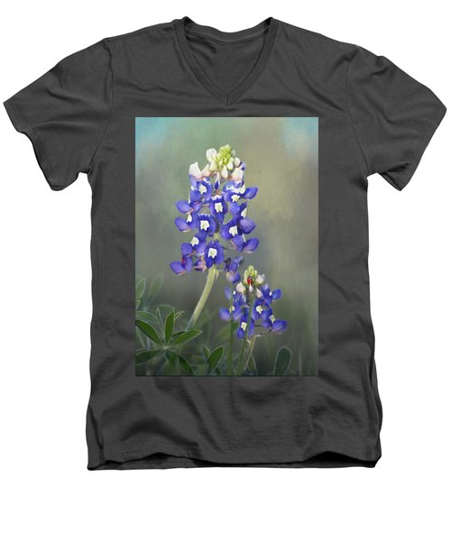 Men's V-Neck T-Shirt featuring the photograph State Flower Of Texas by David and Carol Kelly