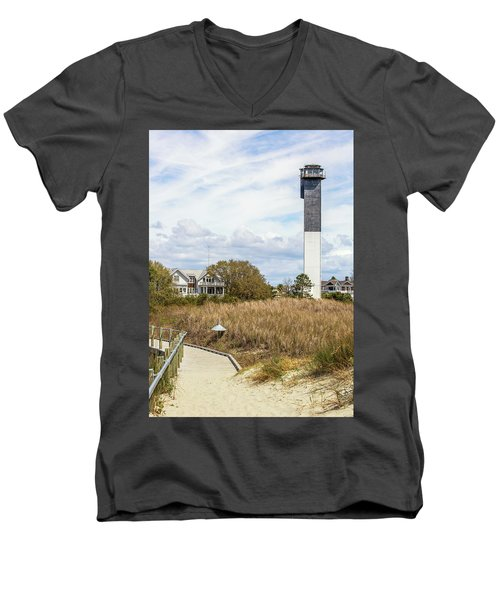 Men's V-Neck T-Shirt featuring the photograph Station 18 On Sullivan's Island, Sc by Donnie Whitaker