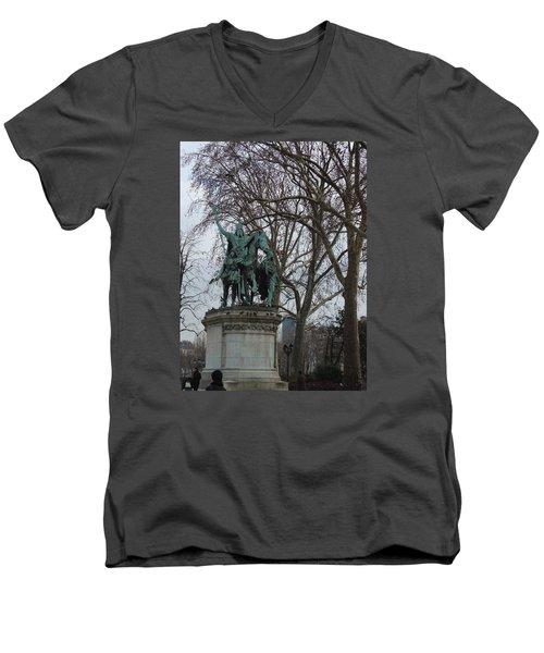 Statue At Notre Dame Men's V-Neck T-Shirt